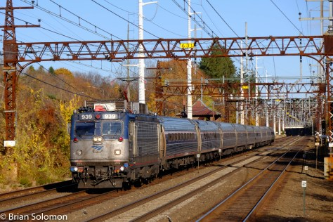 Amtrak 939 leads train 163 on the former New Haven Railroad at Green's Farms, Connecticut. Exposed using a FujiFilm X-T1 with 18-35mm zoom lens.