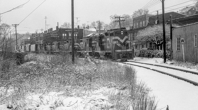 Snow and Old EMD Diesels: Stafford Springs February 1985.