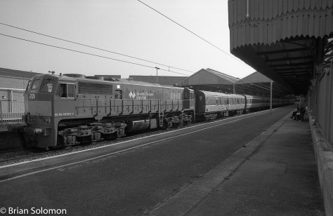 Irish Rail class 071 at Connolly Station with the RPSI empty Cravens on 21 April 2014. Exposed on Fuji Acros 100 film.