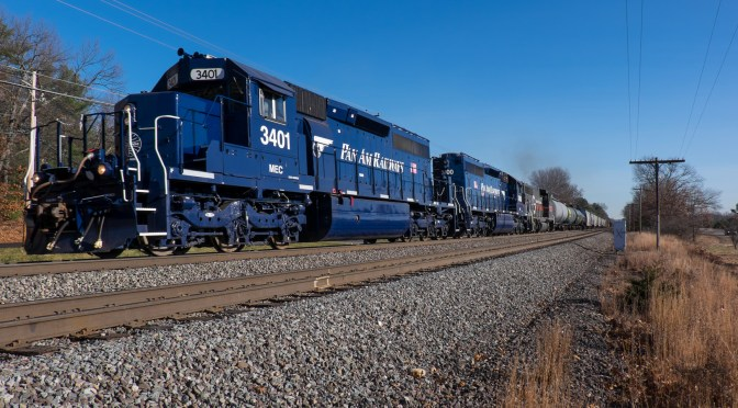 Pan Am's Fresh Blue Diesels Work West at Shirley—November 18, 2015.