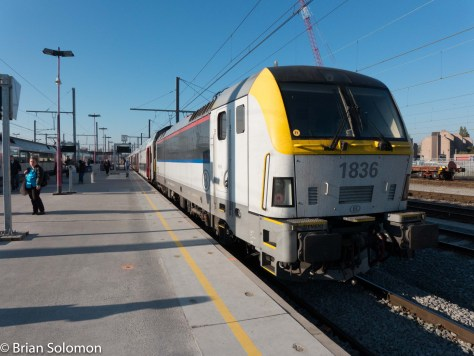 A Seimens electric at Mons with an SNCB passenger train. Belgian railways provide an excellent service with trains operating every few minutes. Sadly, there's no direct cross boarder service with France.