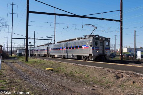 SEPTA 9707 makes a station stop at Levittown on its way to Trenton, New Jersey.