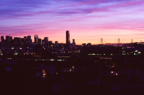Sunrise, San Francisco, exposed with a Nikon F3T on Fujichrome slide film in 2009.