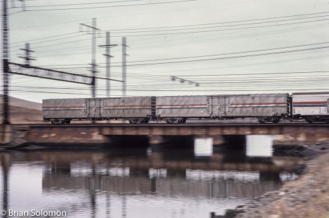 Amtrak's Material Handling Cars (MHCs) were some of the newest equipment on the move in 1986.