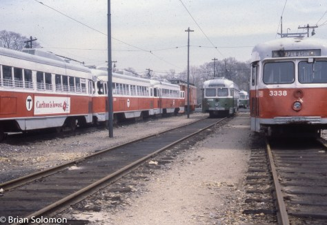 Here were trolley cars and lots of them. What's that Green car doing back there I wondered?