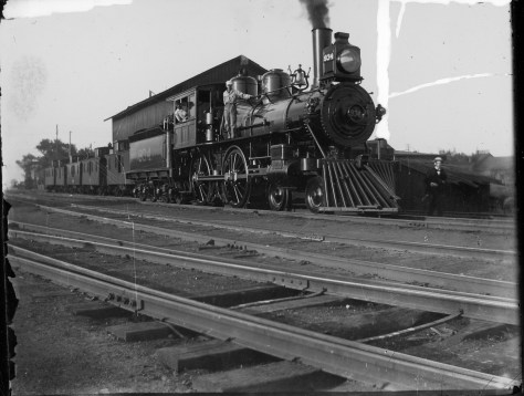 Here we have a nice photo of a nearly new 4-4-0. With a little bit of footwork I was able to discover that it was an Illinois Central engine. The location, date, and specific significance of the image at the time of exposure are a mystery (to me anyway). There is no information on the print. Even the photographer has been forgotten. The print is from my collection.