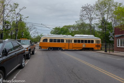 On an overcast May day, an MBTA PCC crosses Central Avenue. I like the contrast between the six decades old streetcar with modern automobiles. How much longer will scenes like this be possible on MBTA? Lumix LX7 photo.