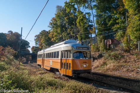A classically painted PCC approaches Cedar Grove. Lumix LX3 photo, contrast adjusted in post processing.