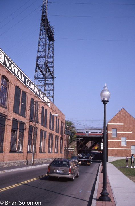 A view from the street looking north toward the old New Haven electrified line.