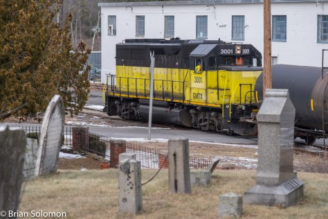 No 4-4-0 today. Not even one of Pan Am Railway's nice blue GP40s. St. Mary's cemetery is older than the railway. FujiFilm X-T1 photo.