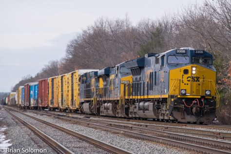 On the morning of Tuesday January 26, 2016, Pan Am's SEPO is seen at the Willows, east of Ayer, where the Stony Brook Branch diverges from the Fitchburg Route. The Stony Brook handles Pan Am's though freights to Maine and New Hampshire destinations.