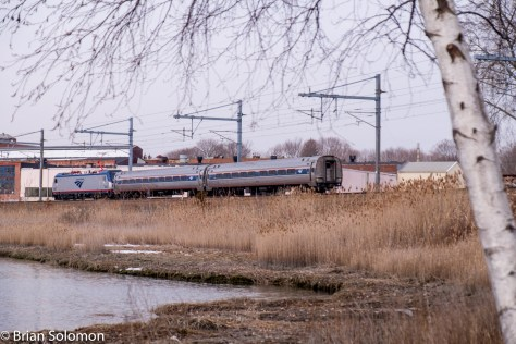 Amtrak 660 rolls west at Branford, Connecticut. Exposed with a FujiFilm X-T1; file enhanced with Lightroom.