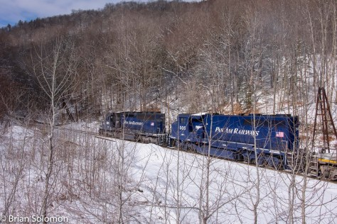 Pan Am Railway's EDRJ (East Deerfield to Rotterdam Junction freight) disappears into the bowels of Hoosac Mountain. It was the last we saw of this train.