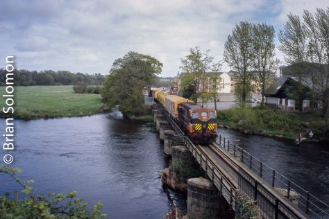 Irish Rail 168 leads the Weedspraying Train at Enniscorthy on the Dublin Southeastern route.