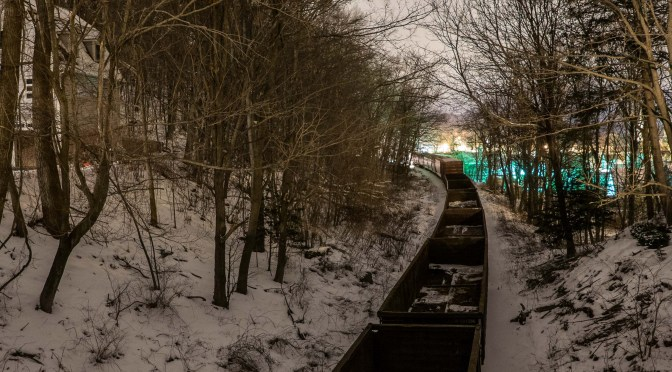 Night Freight on Stateline Hill; an exercise in existing-light night photography.