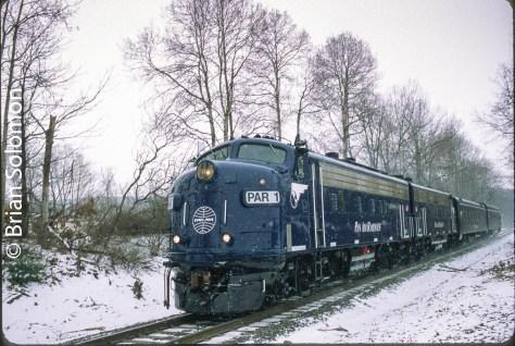 Pam Am Railways PAR-1 leads the company OCS train near Eaglebridge, New York. Exposed on Fujichrome Provia 100 with a Canon EOS-3 with 40mm lens.