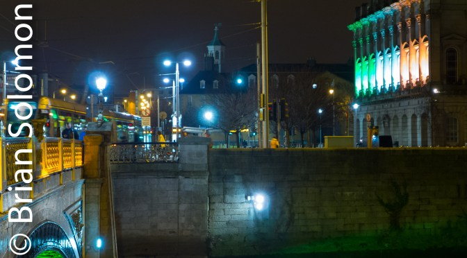 Heuston Station with Tri-Colour Lighting: North Side View.