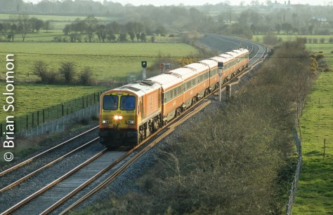 Irish Rail's 213 descends the grade from Ballybrophy on its way toward Dublin on 17 April 2006. Its hard for me to believe that I made this image almost a decade ago. The wire drifting through the scene has always annoyed me. It's easy enough to removing in post processing, but I'm not sure that is the honest thing to do. My slide show on Thursday will show the images as they are without modification.