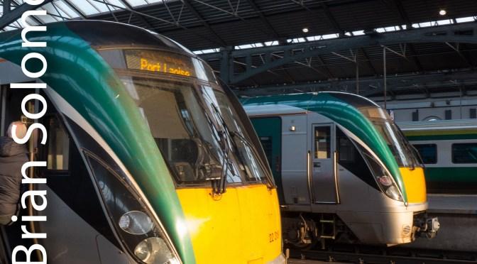 Irish Rail InterCity Railcars Bask in the Evening Sun at Heuston Station.