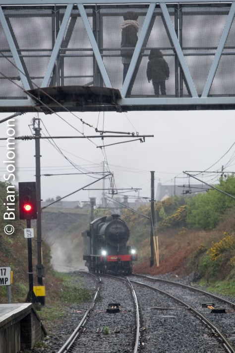 461 with admirers in the rain at Greystones.