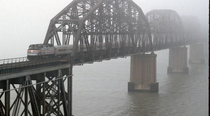 Amtrak in the Mist; Suisun Bay Bridge at the Carquinez Straits, Benicia, California.