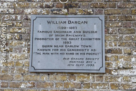 A plaque to William Dargan at Carlow on the Kilkenny to Cherryville line.