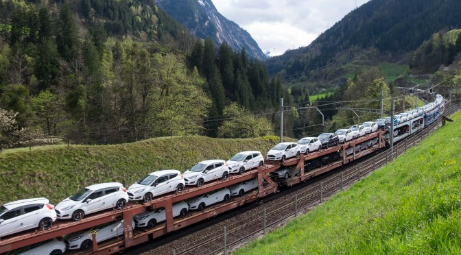 Car Train in the Alps; A flash from the past.