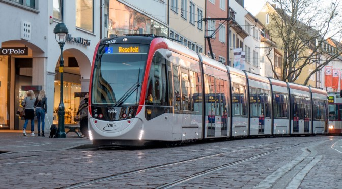Freiburg, Germany: New Tram on Cobblestone Streets.