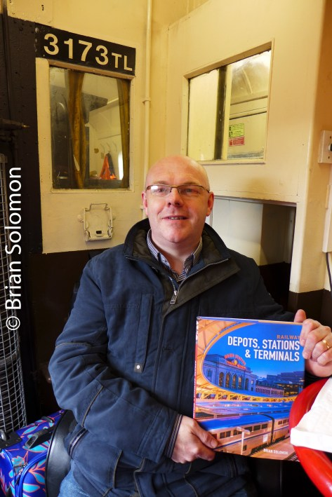 Product placement; Noel Enright holds my new book Railway Depots, Stations and Terminals.
