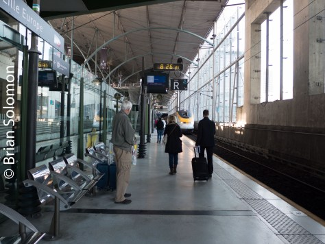 The Eurostar approaches! Lille Europe station is a modern facility with all the charm of an airport.