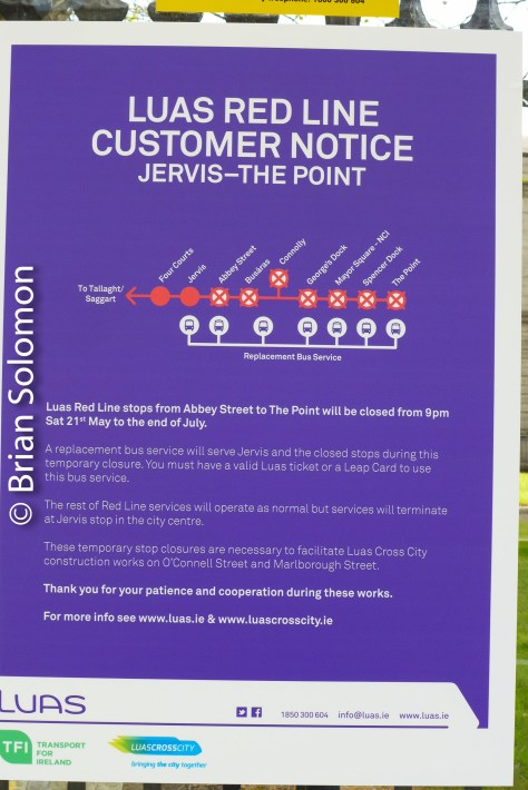 LUAS service notice, May 2016.