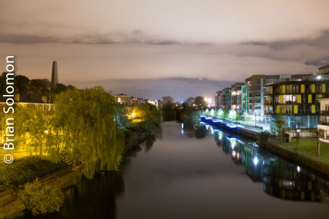 Moon at Midnight over the Liffey. Lumix LX7 time-exposure.