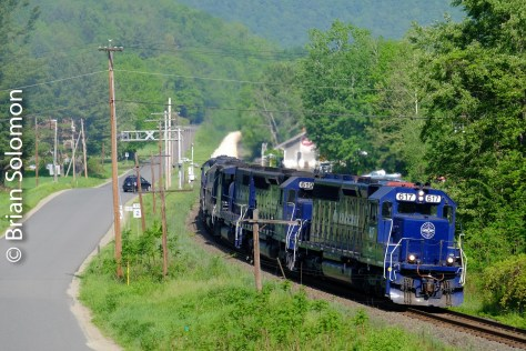 Pan Am 617 leads the clay slurry train eastward at Charlemont, Massachusetts. Exposed with my FujiFilm X-T1.