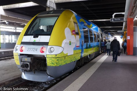 Here's the next leg of my journey in France; a colorfully painted railcar.
