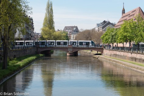 Strasbourg offers many places to include the trams in attractive cityscapes such as this one.