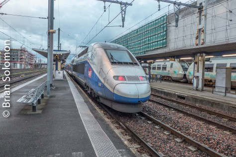 TGV Duplex after arrival at Bordeaux in southern France.
