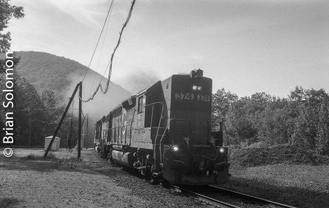 With a roar of 645 diesels and a cosmic cloud of exhaust, EDRJ approaches the east portal of the famed Hoosac Tunnel on the morning of June 4, 2016.