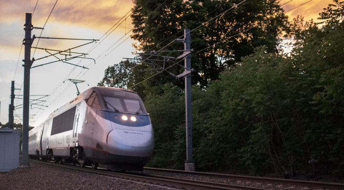Acela Sunset: Miracles of Digital by working with a RAW File.