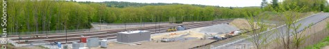 Panoramic composite view of MBTA's new storage facility near Westminster. Exposed with a Fuji XT1.