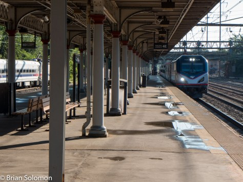 Amtrak 51 arrives on Platform 4 at Trenton, New Jersey. Lumix LX7 photo.