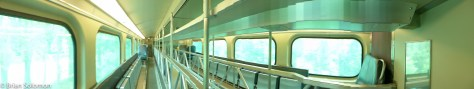 Interior panoramic composite of a Metra gallery-style commuter railway car. Exposed on my way to Lake Forest using my Lumix LX7.