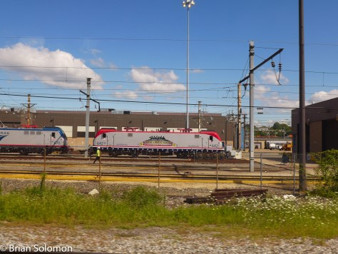 I've had bad luck catching Amtrak's ACS-64 painted in a special livery for America's Veterans. Here it is at Ivy City in Washington D.C.