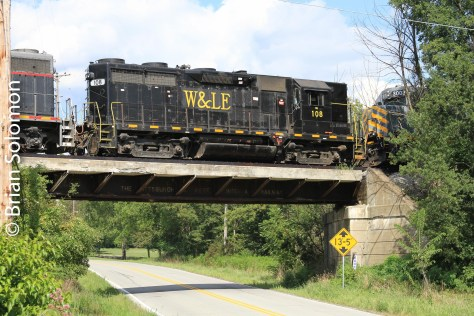 Wheeling & Lake Erie high-hood GP35 crosses the road on August 11, 2011.