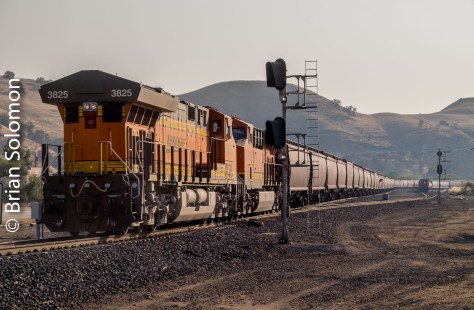 And a new BNSF GE-built Tier IV works as a second set of DPUs at the back of the grain train.