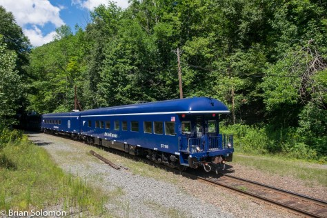 Pan Am's office cars disappear into Hoosac Mountain.
