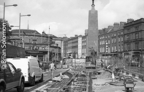 LUAS works on O'Connell Street. Ilford FP4.