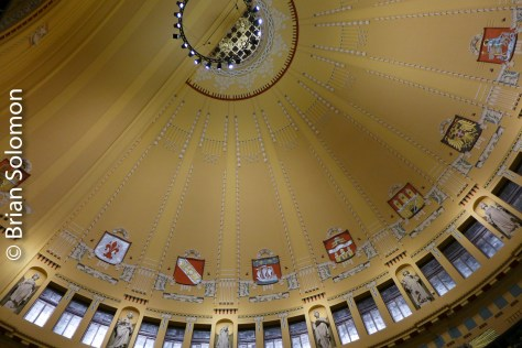 Among the station's architectural attractions are its arched entryway and domed waiting room. Since my visit in 2000 this dome has been restored to its former glory. Lumix LX7 view looking up.
