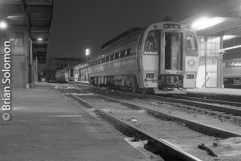Amtrak Budd-built SPV-2000 diesel railcars at Springfield Union Station in summer 1984. Exposed on Kodak Tri-X using a Leica 3A with 50mm lens. Film processed in Microdol-X.