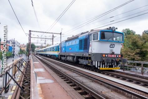 Pushing an empty passenger train in Prague. FujiFilm XT1 digital photo.