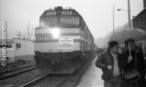 I've been contributing to Trains Magazine since 1984. My first published photo in Trains featured this Mass Bay RRE excursion that had operated from Boston to Brattleboro, Vermont on February 25, 1984. The photo that appeared in the magazine was an angle of the Amtrak F40PHs on the south end of the train in the Brattleboro yard; by contrast these views were of the train shortly after it arrived at Brattleboro station. All were exposed using my old Leica 3A with 50mm Summitar.